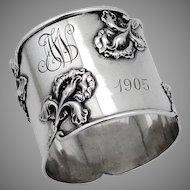 Art Nouveau Napkin Ring Applied Irises Shreve Sterling 1905 Mono