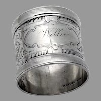 Aesthetic Engraved Napkin Ring Wood Hughes Sterling 1885