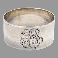 French Plain Napkin Ring 950 Sterling Silver 1920 Mono