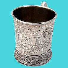 Aesthetic Engraved Childs Cup Ivy Base Schulz Fischer Sterling 1883