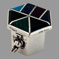 Mexican Hexagonal Pill Box Stone Inlay Sterling Silver