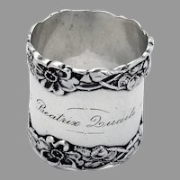 Wild Rose Border Napkin Ring Wallace Sterling Silver 1900