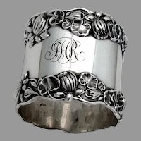 Pond Lily Large Napkin Ring Gorham Sterling Silver Mono