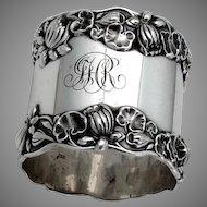 Pond Lily Large Napkin Ring Gorham Sterling Silver Mono