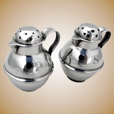 Portuguese Pitcher Form Salt Pepper Shakers Pair Sterling Silver