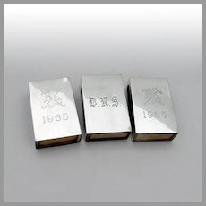 Engraved Match Box Covers Set Reed Barton Sterling 1965