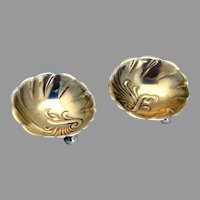 Towle Fluted Gilt Open Salt Dishes Pair Ball Feet Sterling Silver