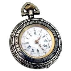 Engraved Ladies Pocket Watch Swiss Movement 800 Silver 1900