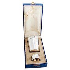 German Faceted Beaker Napkin Ring Set Wilhelm Binder 800 Silver
