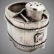 Japanese Barrel Form Open Salt Shaker Set 950 Sterling Silver