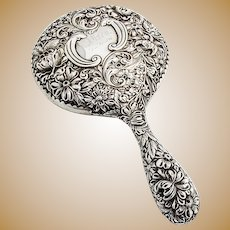 Gorham Repousse Floral  Hand Mirror Sterling Silver 1896 Date Mark