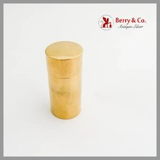 Tall Cylinder Form Box Gilt Sterling Silver