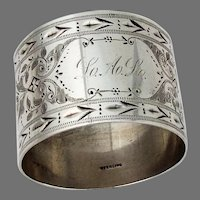 Aesthetic Bright Cut Napkin Ring Sterling Silver 1880 Mono