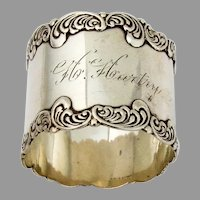 Baroque Scroll Napkin Ring Roden Brothers Sterling 1900 Mono