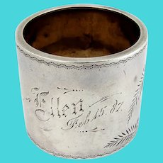 Aesthetic Bright Cut Engraved Napkin Ring Coin Silver 1887
