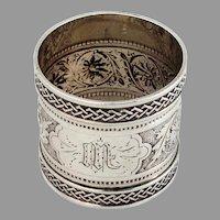 Repousse Foliate Napkin Ring Square Weave Border Coin Silver Mono