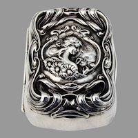 He Loves Me Soap Box Gilt Interior Unger Bros Sterling Silver 1904