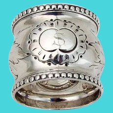 Floral Beaded Large Napkin Ring Coin Silver 1870 Mono