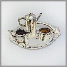 Austrian Secessionist Coffee Set Tray 800 Standard Silver 1890 Vienna