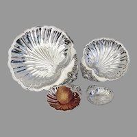 Wallace Baroque 4 Shell Serving Dishes Set Silverplate