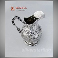 Baroque Creamer Repousse Floral Shell German 830 Silver 1850