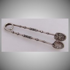 Hadrian Denaruis Sugar Tongs Sterling Silver 1880