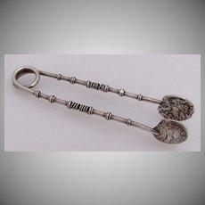Hadrian Denaruis Sugar Tongs Sterling Silver 1880