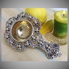 Tea Strainer Baroque Floral Peruzzi 800 Italian Silver 1930