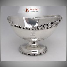 Swing Handle Basket Elongated Beading Coin Silver Eoff Shepard 1855 Monogram ED Rooster