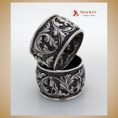 Pair of Huge Sterling Silver Repousse Napkin Rings