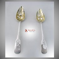 Georgian Serving Spoons 2 Repousse Floral Bowls Sterling Silver 1809