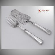 Austrian Silver 800 Solid Silver Fish Serving Set 1900