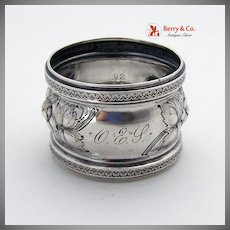 Coin Silver Floral Repousse Napkin Ring 1880