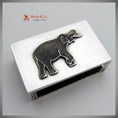 Enamel Elephant Box Cover Sterling Silver 1930
