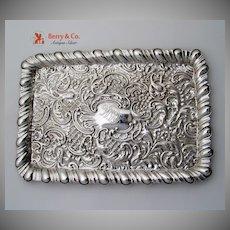 Ornate Repousse Rectangular Tray Sterling Silver Birmingham 1901