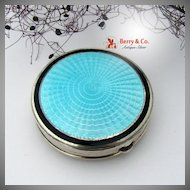 Art Deco Guilloche Blue Enamel Double Compact Foster Bailey Sterling Silver 1930