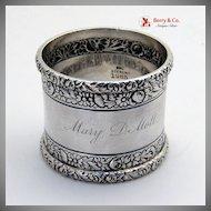 Gorham Sterling Silver Napkin Ring Floral Embossed Decorations 1888