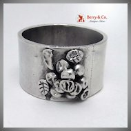 Large Handmade Napkin Ring Applied Grapes Sterling Silver
