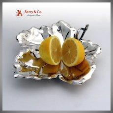 Figural Grape Leaf Serving Dish 800 Solid Silver