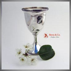 Coronado Country Club Trophy Goblet Greek Key Shreve Sterling Silver