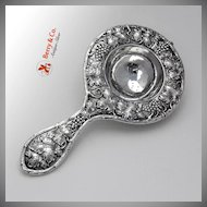 Repousse Grape and Vine Tea Strainer Sterling Silver 1900 No Monogram