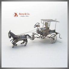 Caramata Horse Drawn Taxi Filigree Sterling Silver 1920