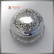 Repousse Floral Scroll Dresser Jar Sterling Silver Cut Glass 1900