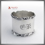 Rose and Scroll Napkin Ring Sterling Silver Shreve and Company