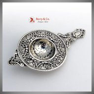 Ornate Tea Strainer Wreath and Floral 800 Silver