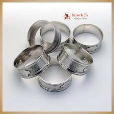 Napkin Rings 6 Coin Silver 1860 Monograms G