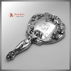 Art Nouveau Hand Mirror Figural Lady and Cupid Sterling Silver 1900