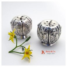Pumpkin Salt and Pepper Shakers Sterling Silver Mexico
