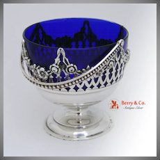 Condiment Bowl Floral Cut Work Cobalt Glass Sterling Silver 1920