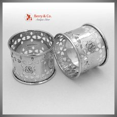 Cut Work Napkin Rings Pair 1920 Sterling Silver EL LL